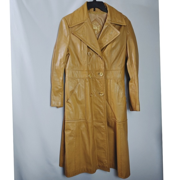 Vintage Jackets & Blazers - Camel Leather Trench Coat Long Vintage Size M